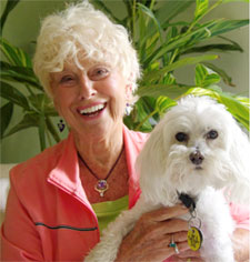 Susie Hastings, Hypnotherapist, and her therapy dog Bella